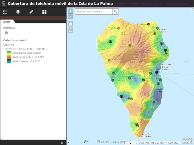 Mapa de cobertura móvil. Disponible en www.mapasdelapalma.es